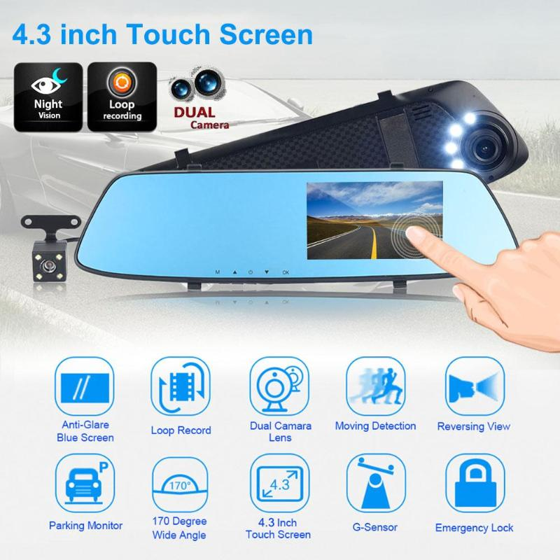 4.3inch Full HD 1080P Car DVR Camera Auto Rearview Mirror Digital Video Recorder Dual Lens Registratory Camcorder Car Styling