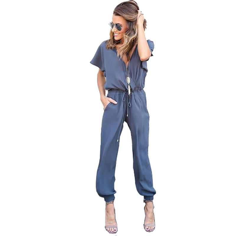 Rompers Jumpsuits Women Sexy V Neck Pleated Waist Pocket Rompers Jumpsuits Loose Overalls Short Sleeve Playsuit