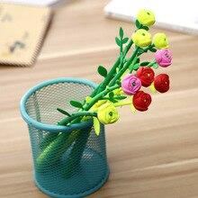 100 قطعة قلم نمط الورد الهدايا الإبداعية للطلاب تعلم القرطاسية روز الزهور الأسود قلم محايد اللون قلم مكتب بالجملة