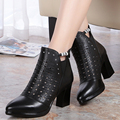 2017  summer new high-heeled genuine leather women's net shoes fashion diamond hollow hole shoes women's breathable shoes
