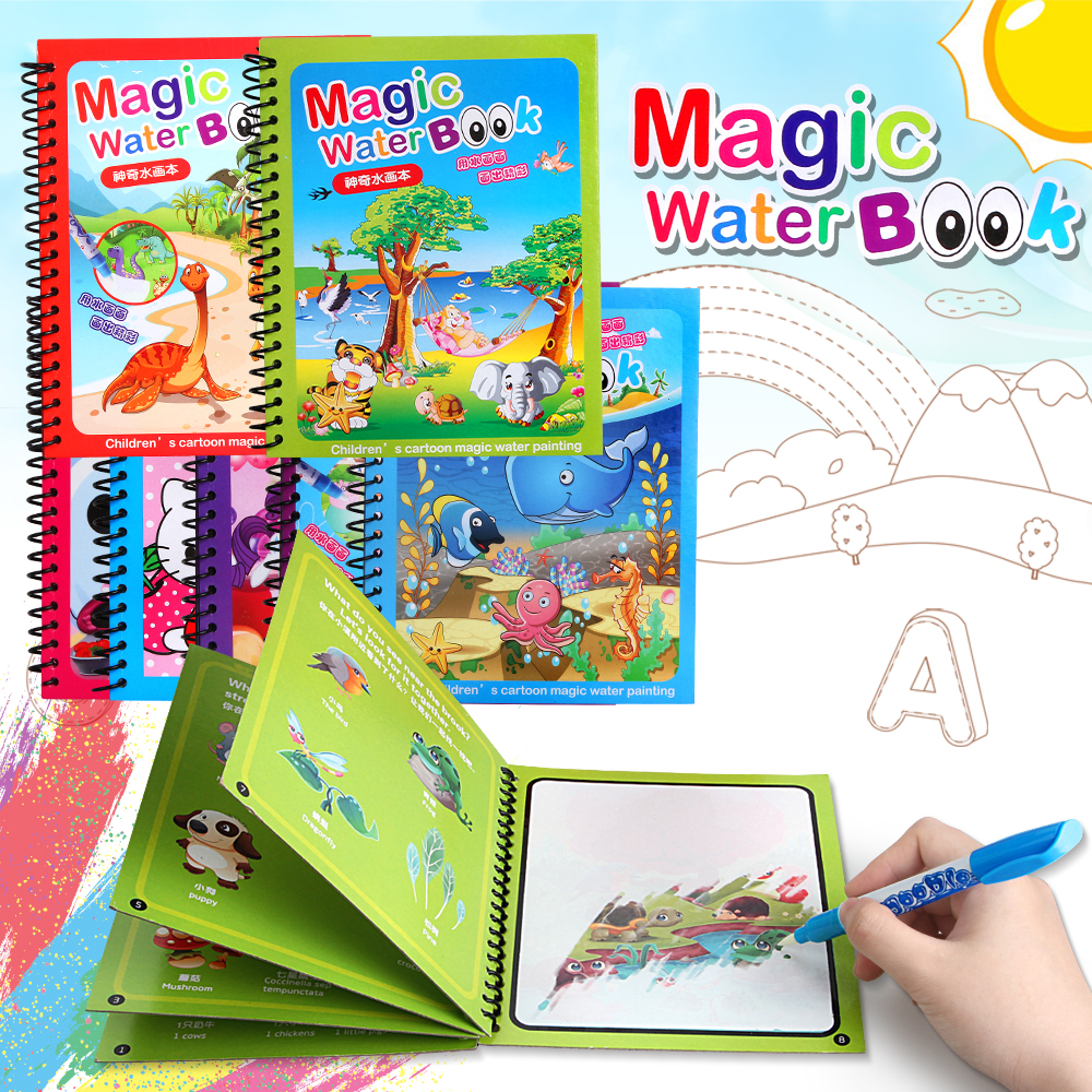 Magic Water Drawing Book Toys Coloring Books Doodle Painting Drawing Board with Magic Pen For Kids Toys Birthday Gift