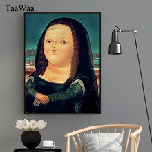 TAAWAA Funny Lovely Obesity Mona Lisa Canvas Posters And Prints Nordic Painting Living Room Pictures Wall Art Home Decoration