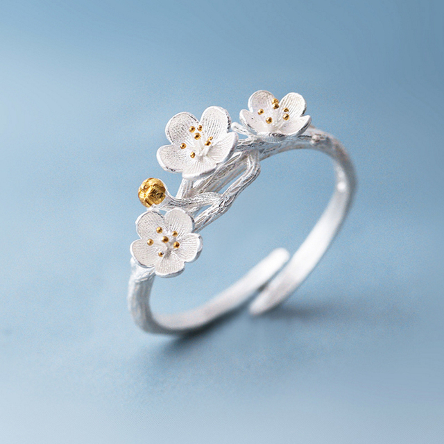 Fashion Ring Small Flowers Opening Wedding Bands Adjule Size