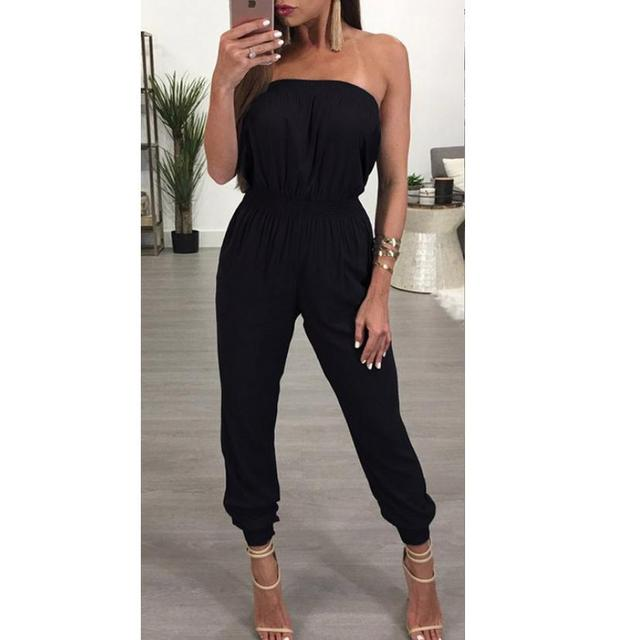 d36627cc4f 2019 Sexy Rompers Womens Jumpsuit Black Ladies Clubwear Playsuit Bodycon Party  Jumpsuits Bandeau Romper Trousers-in Jumpsuits from Women s Clothing on ...