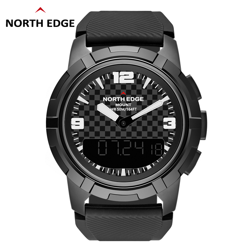 Mens Smart Mechanical Watches NORTH EDGE Men Sport Watch Stainless Steel Male Dual display Waterproof Clock Military Wristwatch-in Sports Watches from Watches    1