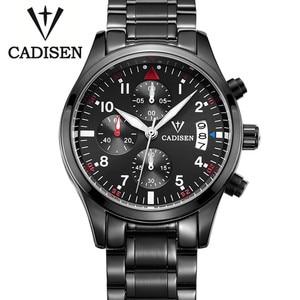 2018 Cadisen Auto Date Watch Men Waterproof Sport Chronograph Stainless Steel Men's Watches Dress Business Design Quartz Watch