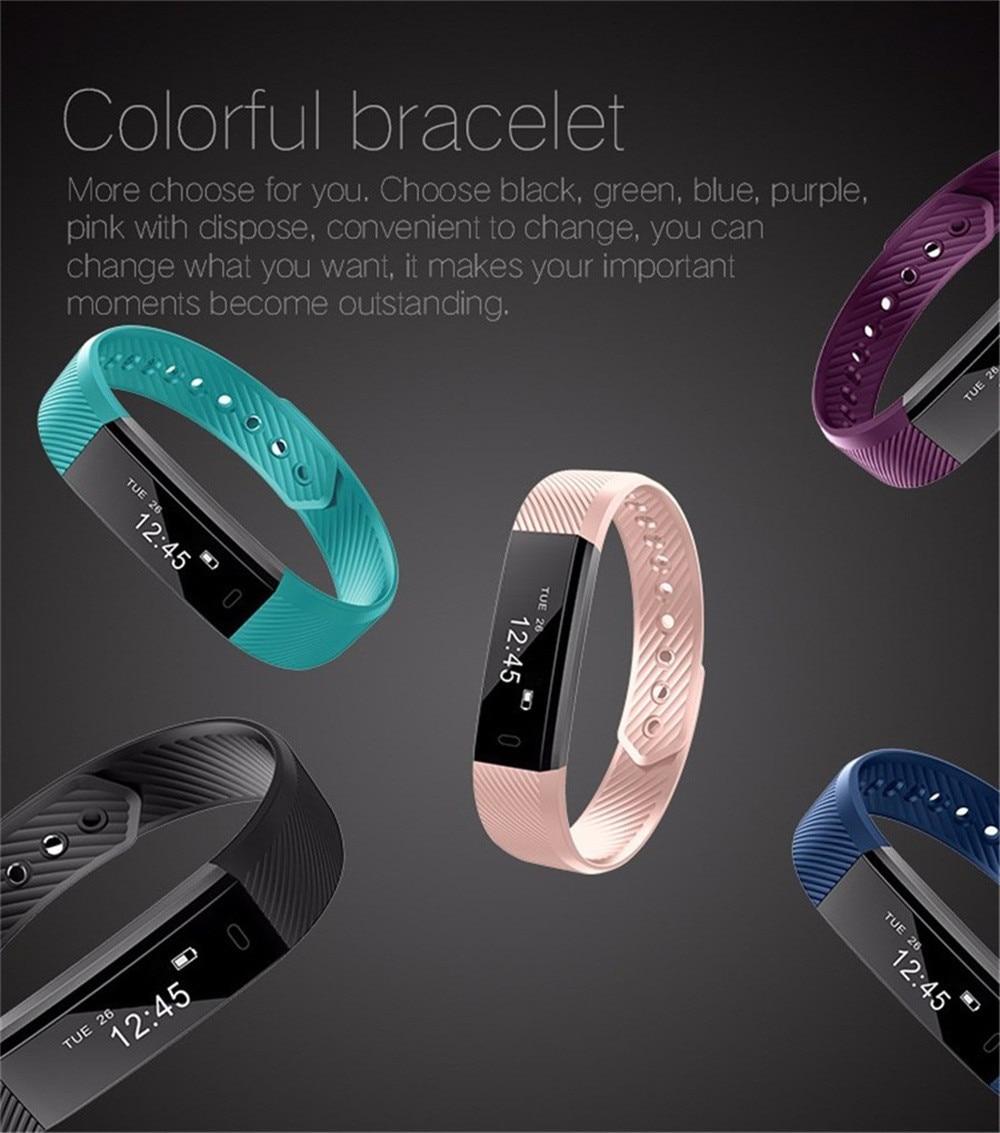 Smart Wrist Watch Bluetooth Bracelet Wristband Pedometer Sport Fitness Tracker ID115 Waterproof For Android IOS BFOF