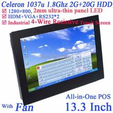 Ultra-thin embedded all in one PC 13.3″ with Intel Celeron 1037u Dual Core 1.86Ghz 2G RAM 20G HDD