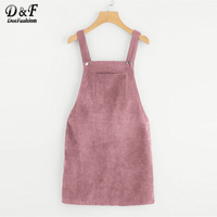 Dotfashion Bib Pocket Front Overall Short Dress 2017 Pink Zip Button Pinafore Shift Dress Female Sleeveless