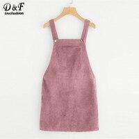Dotfashion Bib Pocket Front Overall Short Dress 2017 Pink Zip Button Pinafore Shift Dress Female Sleeveless