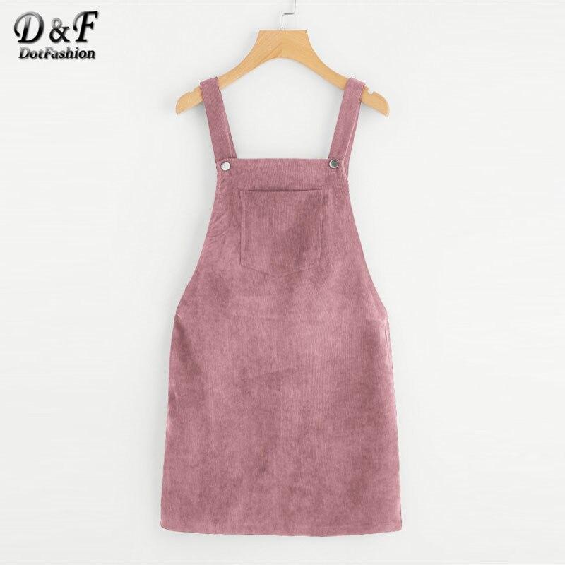 Dotfashion Bib Tasche Vorne Insgesamt Kurz Kleid 2018 Rosa Zip Taste Pinafore Shift Kleid Weibliche Sleeveless Plain Kleid
