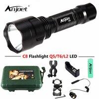 ANJOET Tactical Flashlight Red Green White Light XML T6 Q5 L2 LED 1200LM Aluminum 1 Mode
