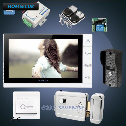 HOMSECUR 1V1+Electric Lock 9 Wired Video&Audio Smart Doorbell Electric Lock+Keys Included 1C1M t handle vending machine pop up tubular cylinder lock w 3 keys vendo vending machine lock serving coffee drink and so on
