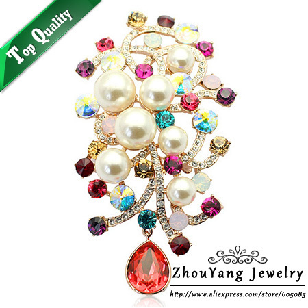 ZYX004 Elegant Flower Imitation Imitation Pearl  Gold Plated Brooches Jewelry Austrian Red Crystal  Wholesale