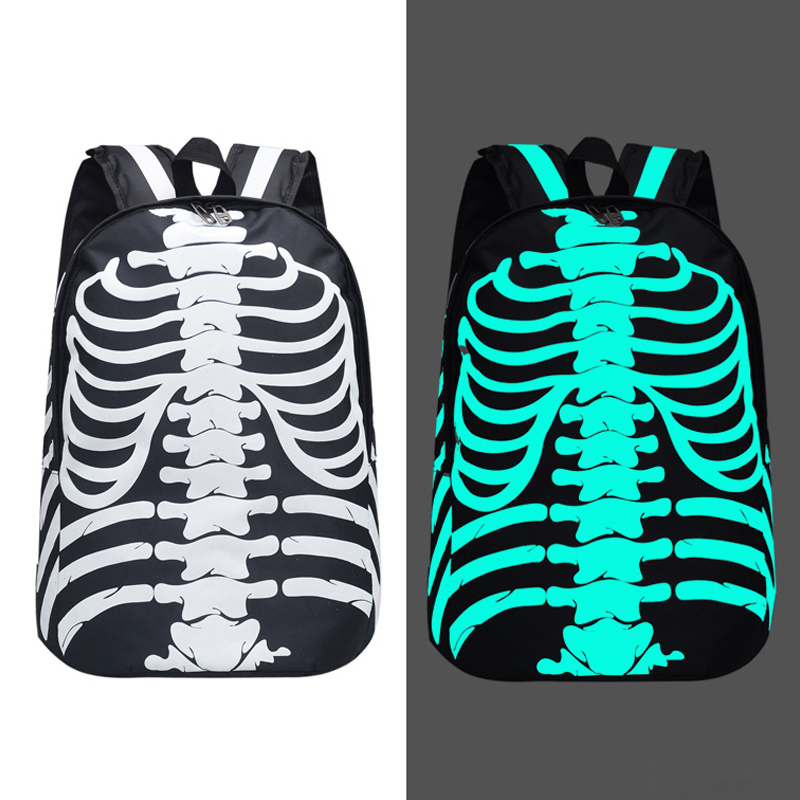 Fashion Luminous Skull Backpacks Hip Hop Skeleton Cool Student Bookbags Bagpack Knapsack For Girls Boys Mochila Bolsas