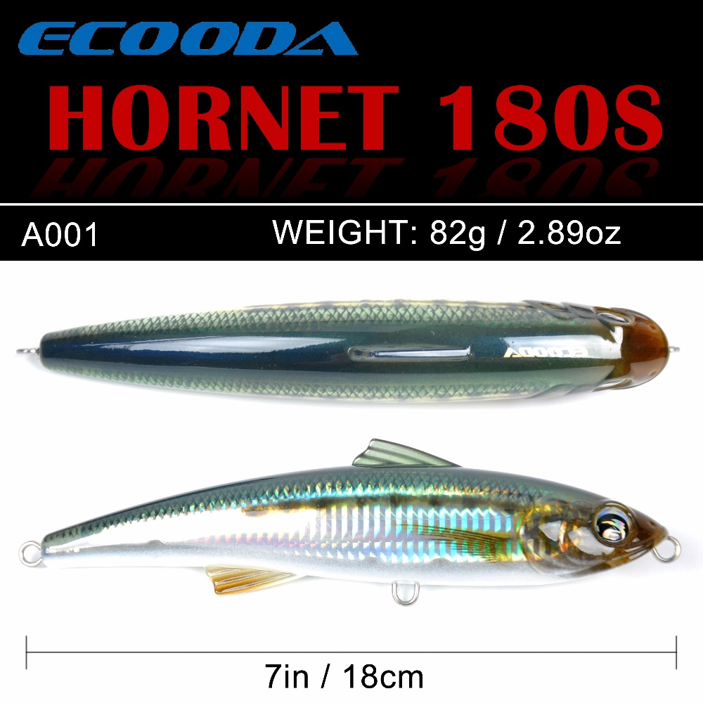 Ecooda Hornet 180mm 82g Fishing Popper lure Topwater Trolling big Pencil Lure Hard bait Floating For Kingfish/Tuna Saltwater free shipping 2pc 18cm 150g australia gt popper fishing sea lure big gt popper baits for wood saltwater sea popper gt bait
