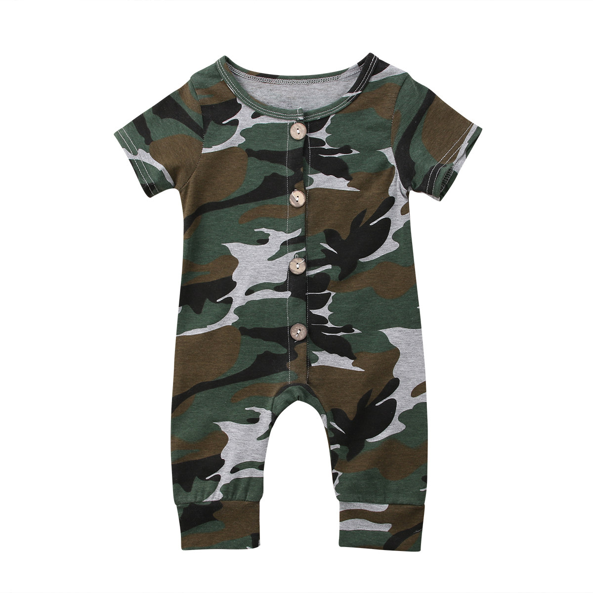 Newborn Infant Baby Boy Girl Cotton   Romper   Short Sleeve Jumpsuit Camouflage Clothes Outfits