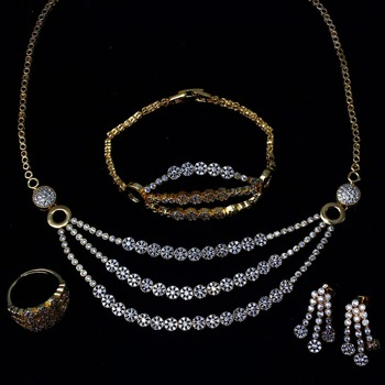 New Women wedding Jewelry Sets with Cubic Zircon 4pcs jewelry sets ( necklace + bracelet + earrings + ring) free shipment