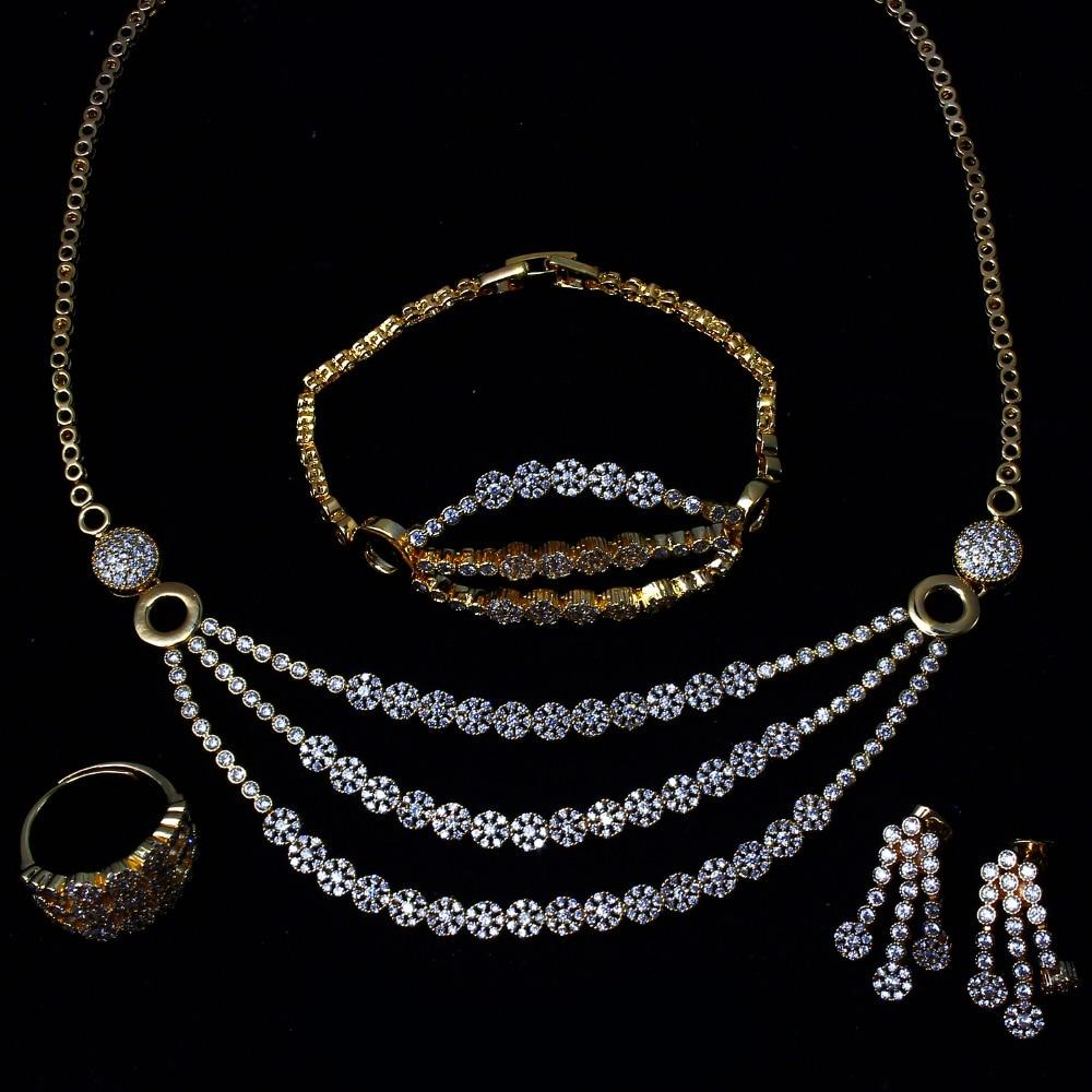 Nouvelles Femmes Ensembles de Bijoux de mariage avec Zircon Cubique 4 pièces ensembles de bijoux (collier + bracelet + boucles d'oreilles + bague) livraison gratuite