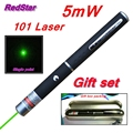 [RedStar]5mW 101 Green & Red Laser pen 532nm single point laser pen teacher pointer indicative pen Gift set include metal box