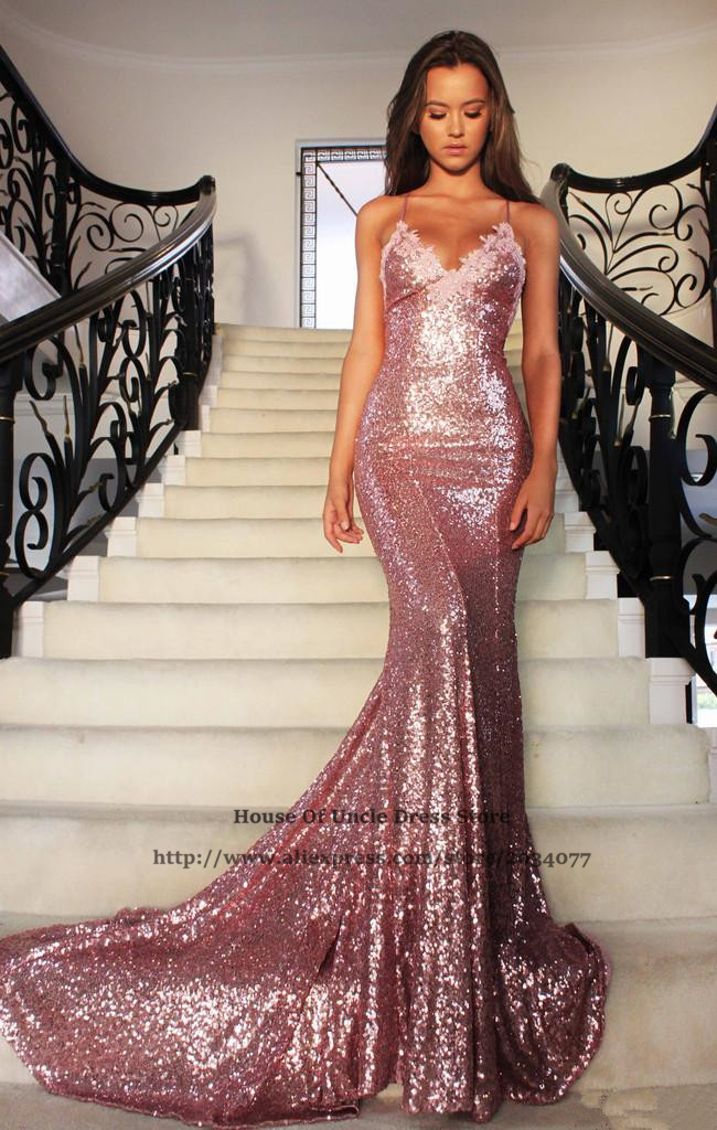 Aliexpress.com : Buy Sparkly Crop Top Pink Sequin Prom Dresses ...