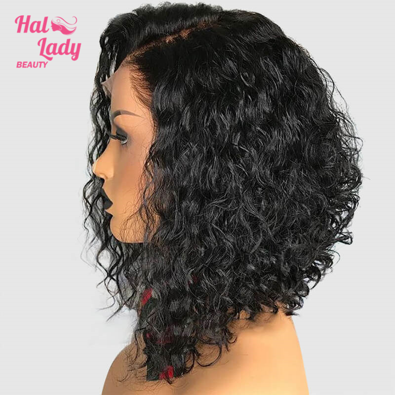 13x4 Deep Curly Bob Wig Lace Front Human Hair Wigs Brazilian Wig Preplucked Remy For Black