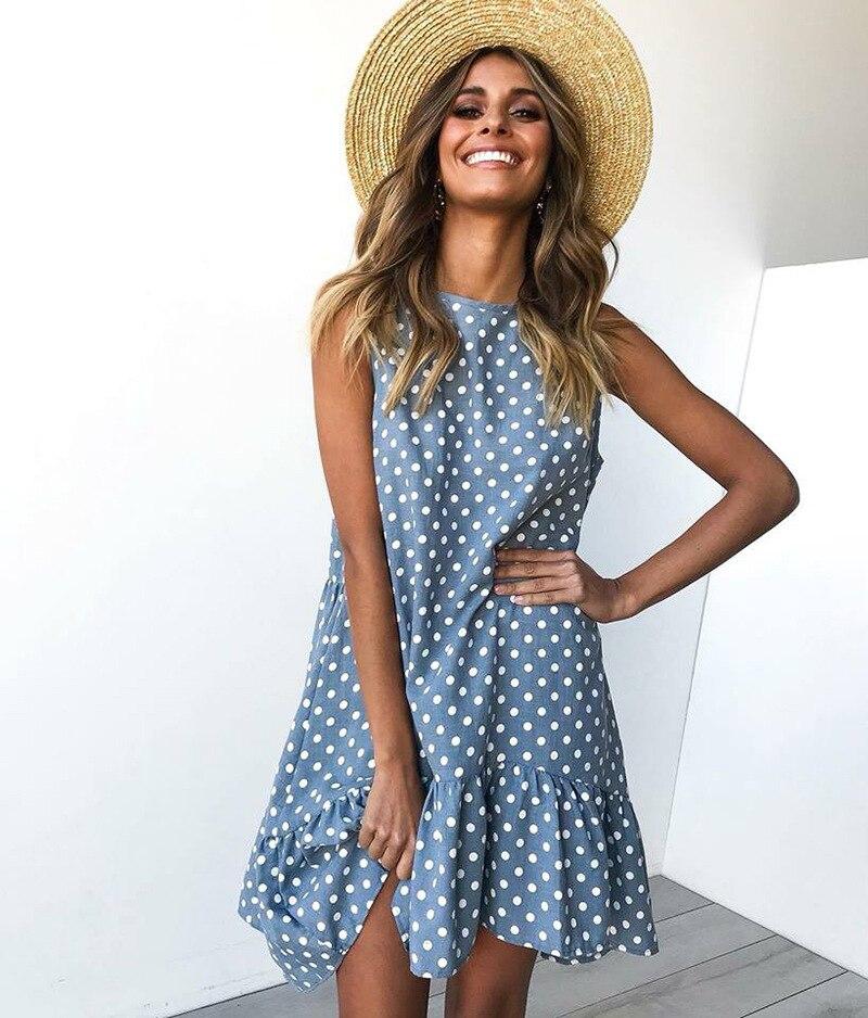 Sem mangas dot print vestido feminino 2019 novo verão casual solto vestido plus size bonito fino o pescoço mini vestido de praia roupas femininas