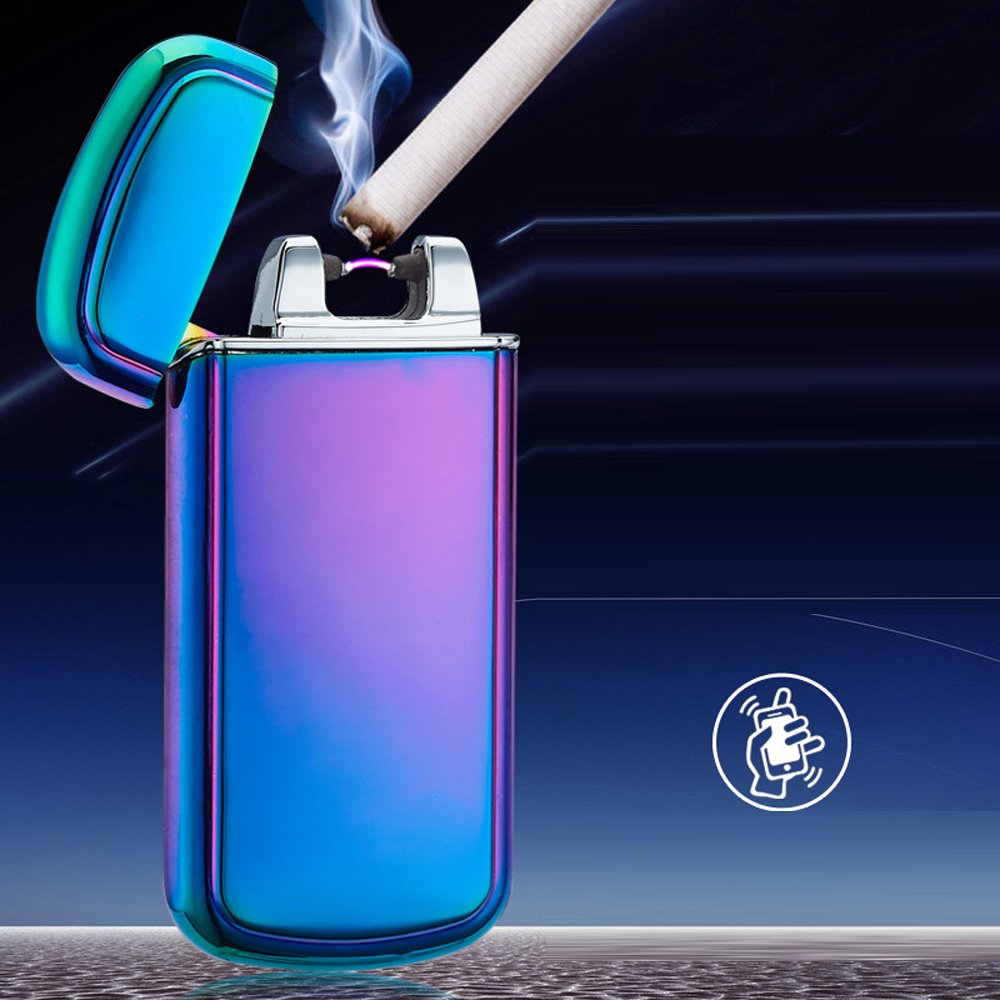 Usb Rechargeable Electric Arc Lighters Personalized Cross Double Pulse Slim Lighter