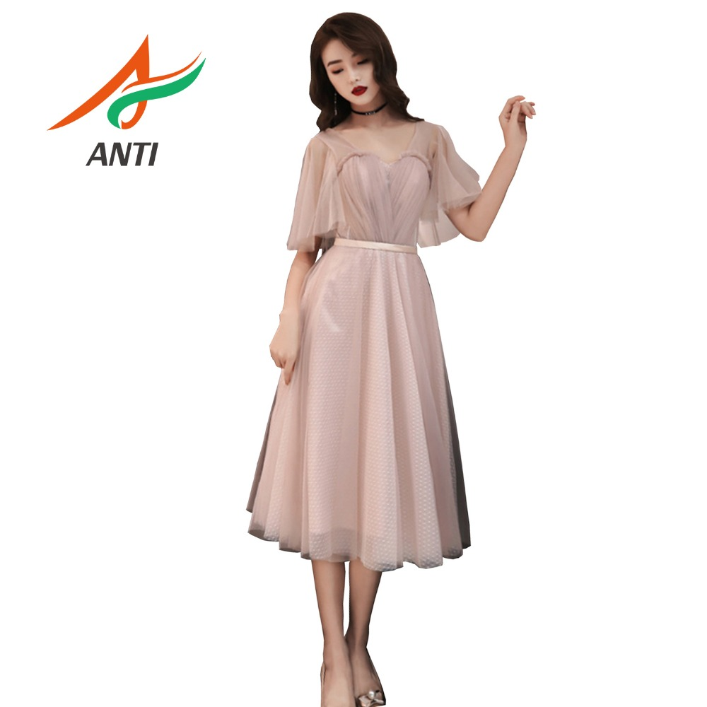 ANTI   Cocktail     Dresses   2019 Pink Tulle Short   Dresses   Elegant Ever Pretty A-Line Off the Shoulder Special Occasion Party   Dresses