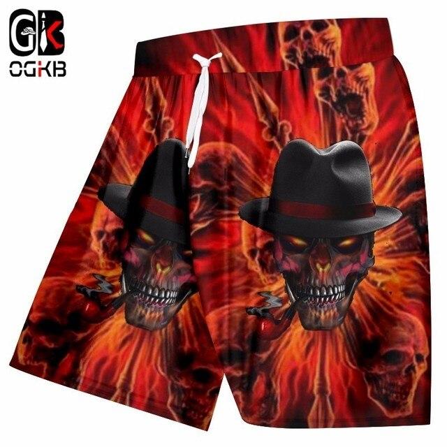 ca8513bc1b8ee OGKB New Style Fashion Board Shorts Men's Funny Print Smoking Skull 3d  Beach Short Swimshorts Man Hiphop Punk Mermuda Trousers
