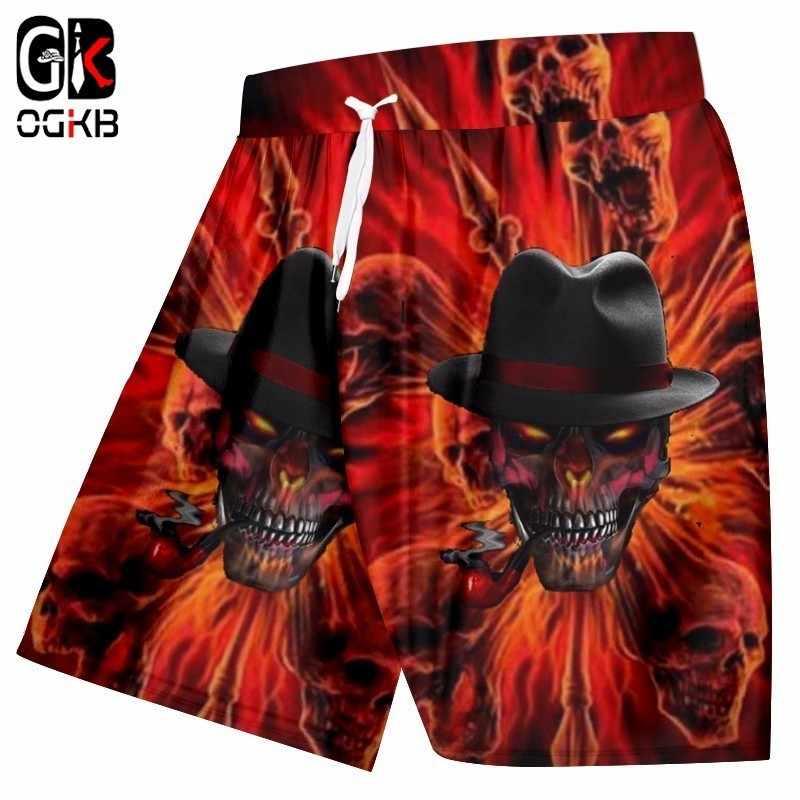 OGKB новый стиль модные пляжные шорты для мужчин Забавный принт Курение череп 3d пляжные шорты Плавание шорты для женщин Человек хип хоп панк Mermuda