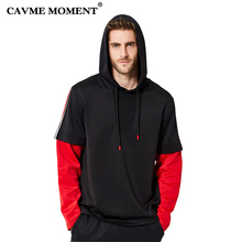 CAVME Hoodies Sweatshirt for Men Male Red Black Patchwork Tops Hiphop Sweatshirts Loose Design Full Sleeve S-2XL