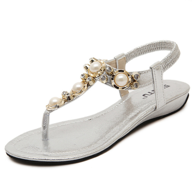 Silver gold sandals woman gladiator sandals flip flops pearl rhinestone  beads slippers beach shoes glitter flip flops woman 2017 1d6f567435e3
