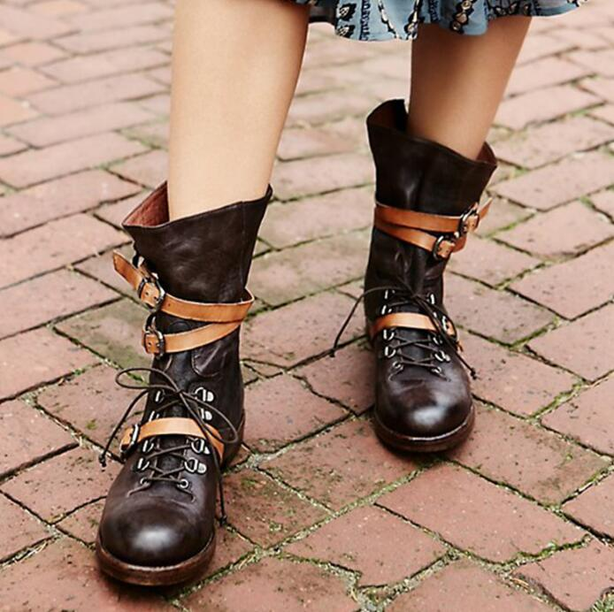 Dark Brown Leather Women Round Toe Ankle Boots Ankle Buckles Ladies Lace Up Martin Boots Low Square Heel Female Free Style Boots british style retro carving round toe low thick heels lace up martin boots for women black brown cowhide size 40 booties shoes