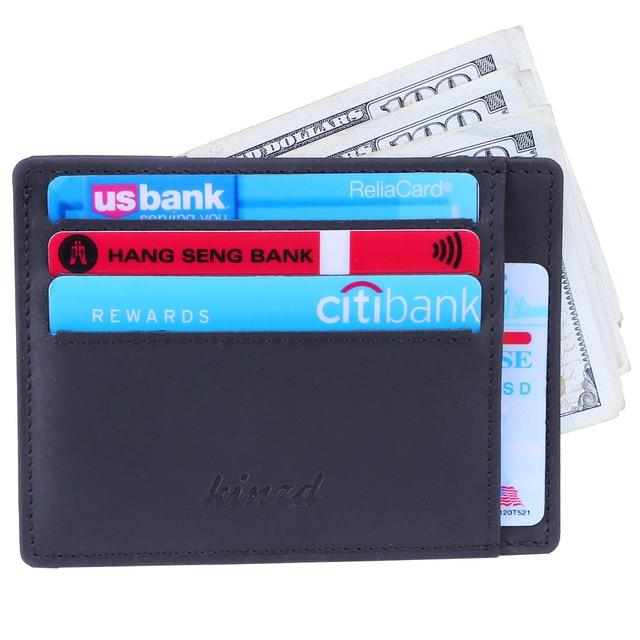 8e587ba68c6 Men Slim Wallet RFID Front Pocket Wallet Crazy Horse Leather Wallet  Minimalist Secure Thin Credit Card Holder