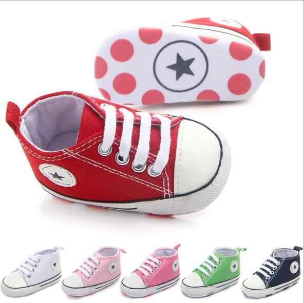 New Classic Infant toddlers Baby Canvas First walkers Baby moccasins Soft bottom Canvas Bebe Anti-slip Baby shoes