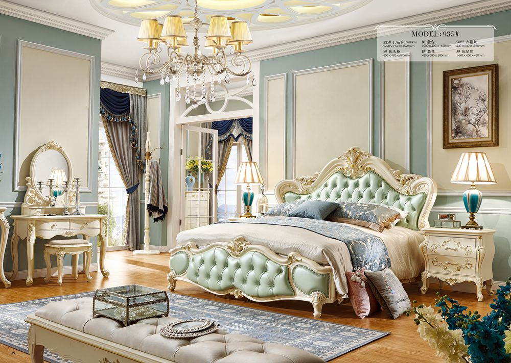 Master bedroom king size bed solid carving bed romantic - King size bedroom sets with mattress ...