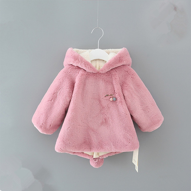 a3d31557e65 preppy style rabbit winter baby girls warm hoodies coat toddlers thicken  sweatershirts infants outerwear Clothes 0-2Y