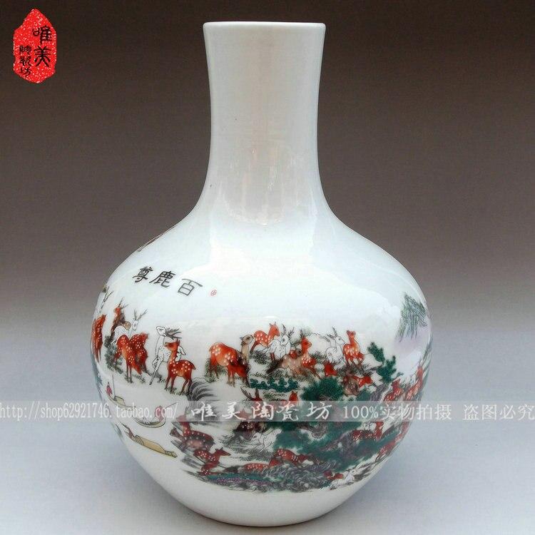 Jingdezhen enamel vase White deer statue of celestial furnishing articles of handicraft