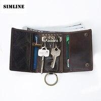 Vintage Multi Function 100 Genuine Crazy Horse Leather Cowhide Men Car Key Wallet Wallets Holder Bag