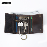 Vintage Multi Function 100 Genuine Crazy Horse Leather Cowhide Men Car Key Wallet Wallets Holder Bag