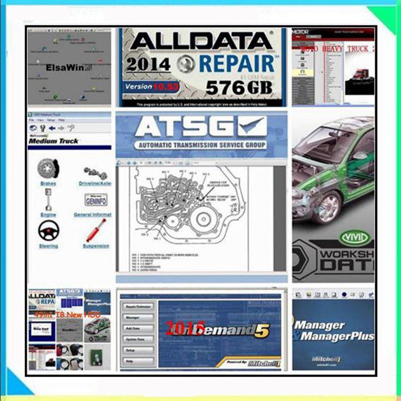 2018 Alldata программного обеспечения alldata 10,53 mitchell ondemand 2015 автосервис программное обеспечение vivid мастерской atsg elsawin5.3 49in1tbhdd usb3.0