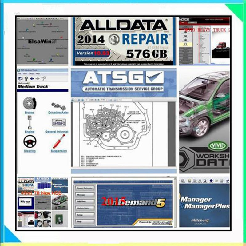 2020 Hot Alldata All Data 10 53 Mit  Chell OD 2015 Auto Repair Software Vivid Workshop Atsg elsawin6 0 manager plus 50in1tb HDD