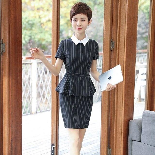 b2f38dd77196 US $36.78 10% OFF|Formale Uniform Styles Elegante Gestreifte Blazer Anzüge  Mit 2 stücke Tops Und Rock Für Frauen Business Arbeit Tragen Slim Fit ...