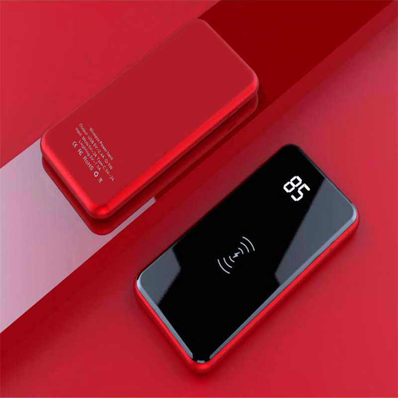 2019 NEW 30000mAh QI Wireless Charger Power Bank For xiaomi iPhone X Samsung Powerbank 2 USB Charger Wireless External Battery