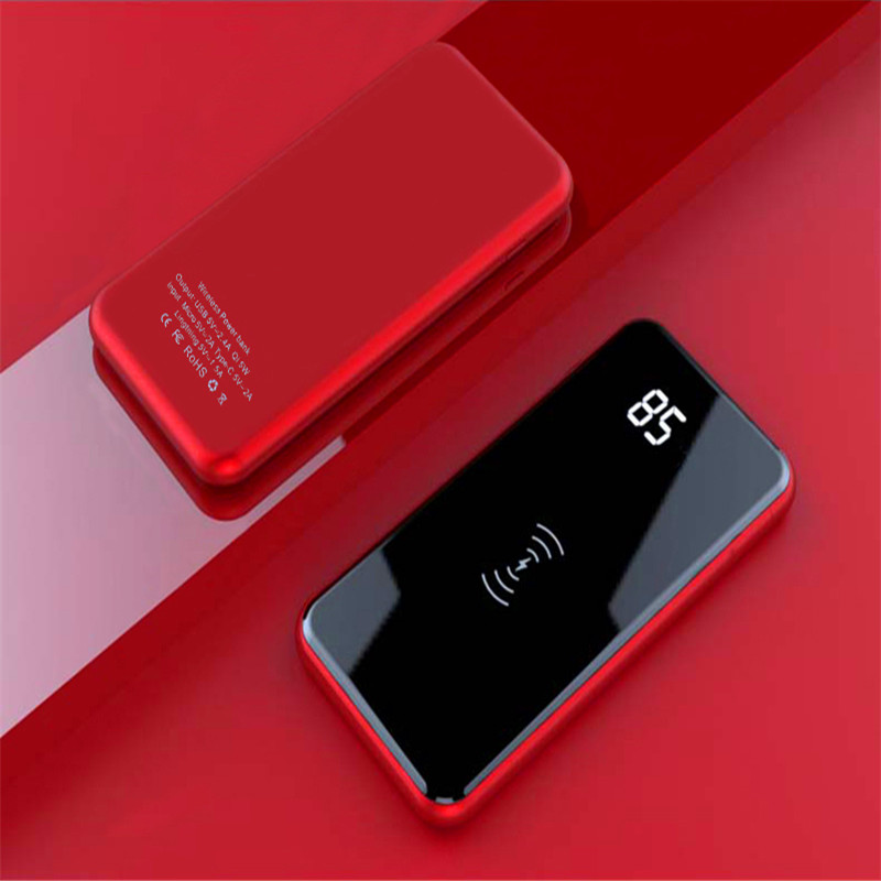 Qi Wireless Charging 10000mAh Power Bank Dual-USB LCD Screen Portable External Battery Fashion Ultrathin Backup usb battery bank charger