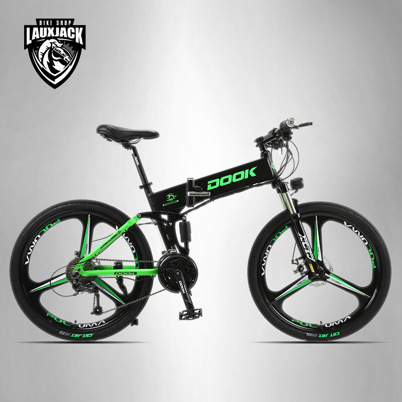 DOOK Mountain Electric Bike Full Suspension Alluminium Folding Frame 27 Speed Shimano Altus Mechanic Brake 26