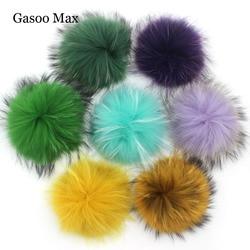 15cm sólido & colorido bola de pele de guaxinim pom pompons para as crianças chapéu de inverno e gorro de pele pompom