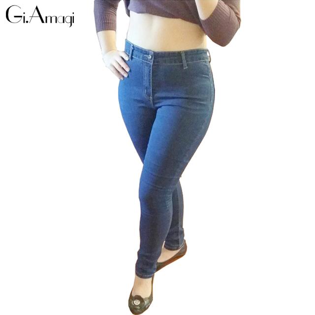 Novo 2017 Calças de brim das Mulheres do Sexo Feminino América Famosa Desiger Jeans Skinny Estiramento Lápis Jeans calças de Brim Das Senhoras de Alta Qualidade Mais tamanho