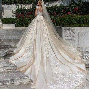 Image 2 - Vintage Vestidos Novias Boda Cap Mouw Luxe Baljurk Trouwjurk 2020 Met Sluier Robe De Mariee Princesse De Luxe gelinlik